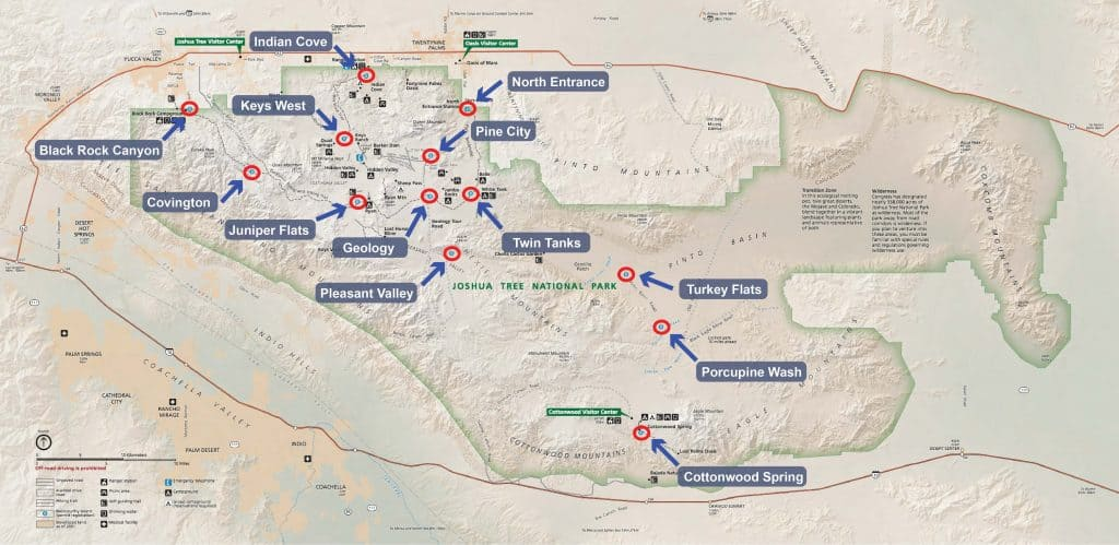 Map of backcountry camping registration boards in Joshua Tree National Park.