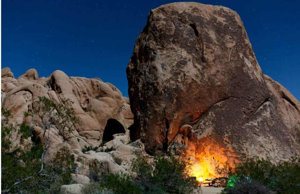 Campfire in Joshua Tree National Park.