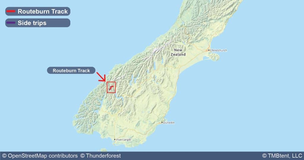 Map showing the Routeburn Track in New Zealand