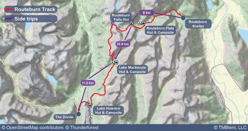 Map of the Routeburn Track with stage distances shown.