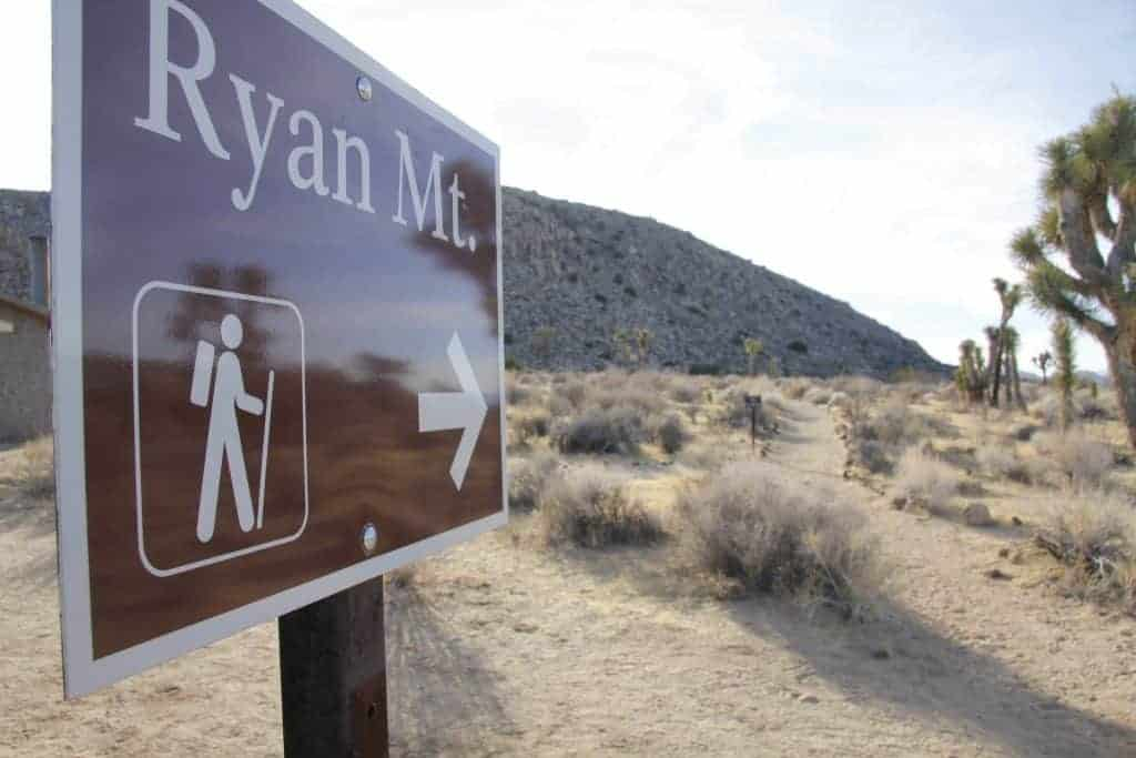 Ryan Mountain trail sign