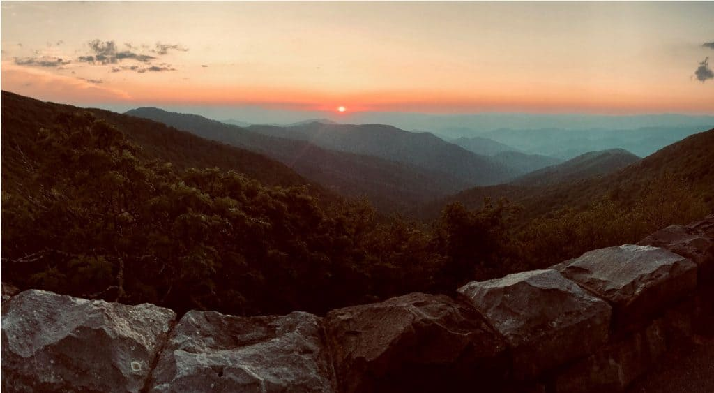 Sunset in Shenandoah National Park.