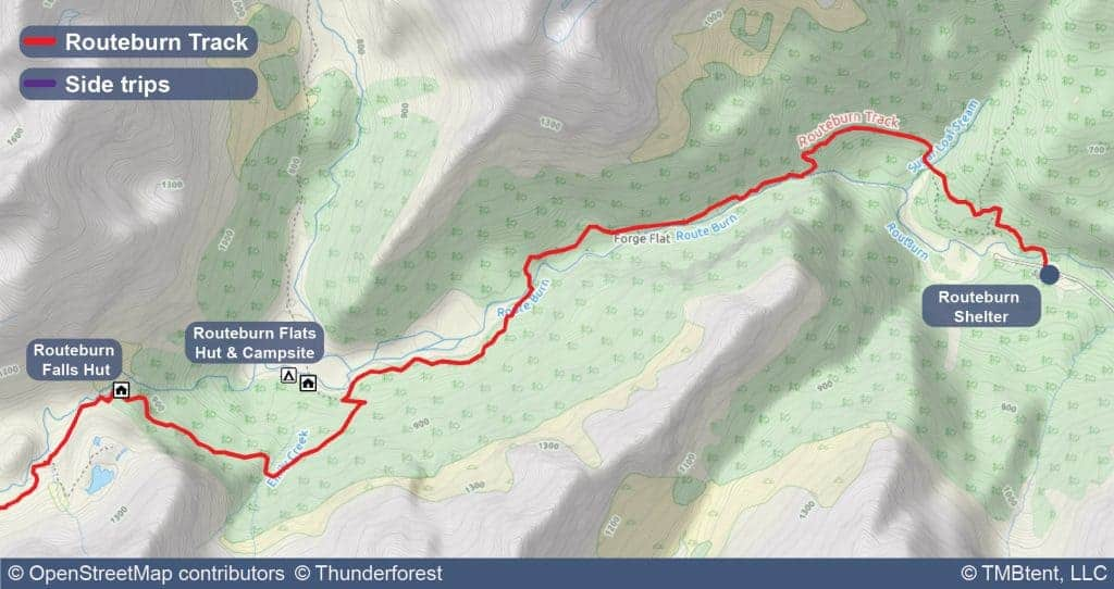 Map of Stage 1 of the Routeburn Track from Routeburn Shelter to Routeburn Falls Hut