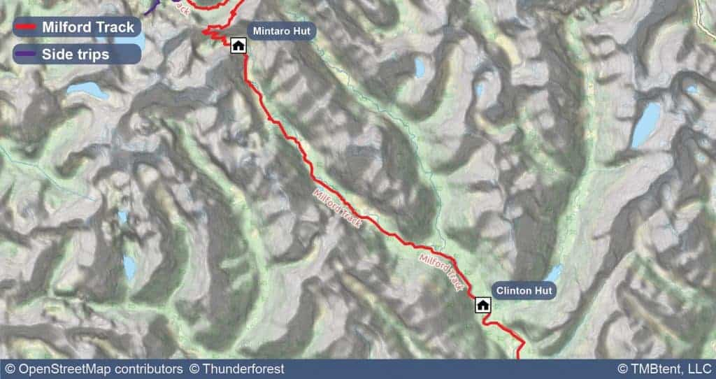 Map of Stage 2 of the Milford Track
