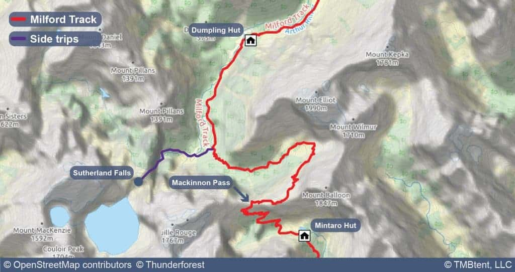 Map of Stage 3 of the Milford Track.