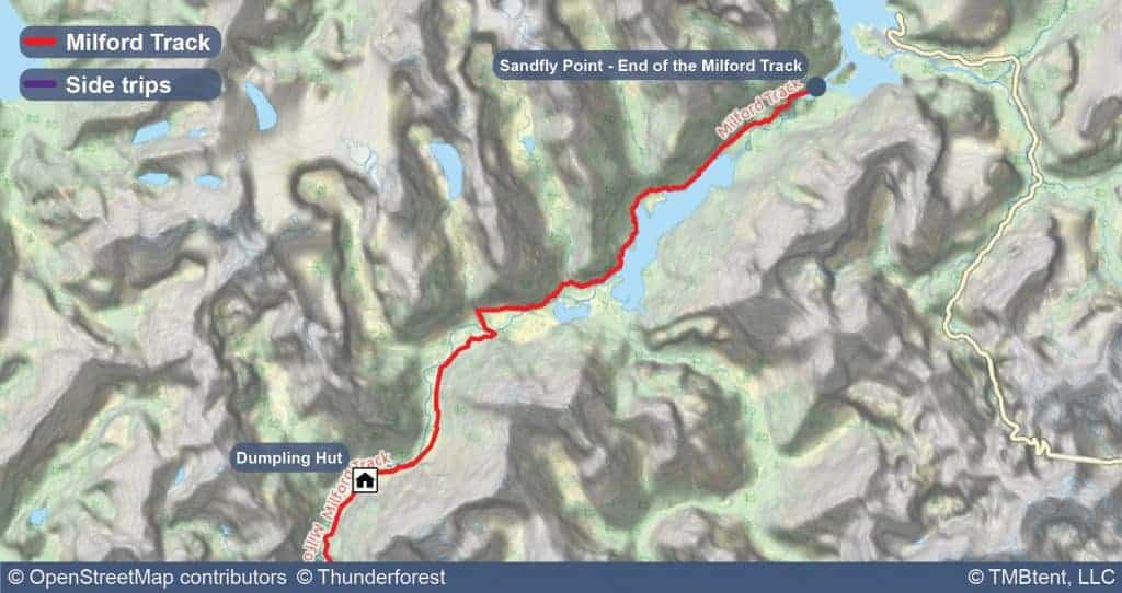 Map of Stage 4 of the Milford Track.