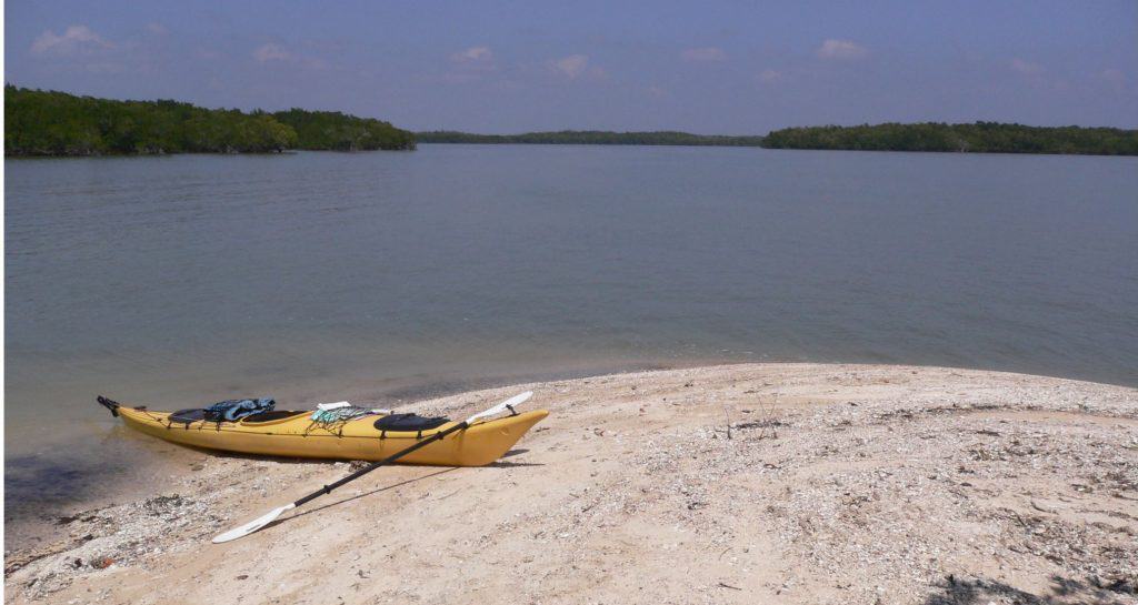 Kayak on the beach in Everglades National Park