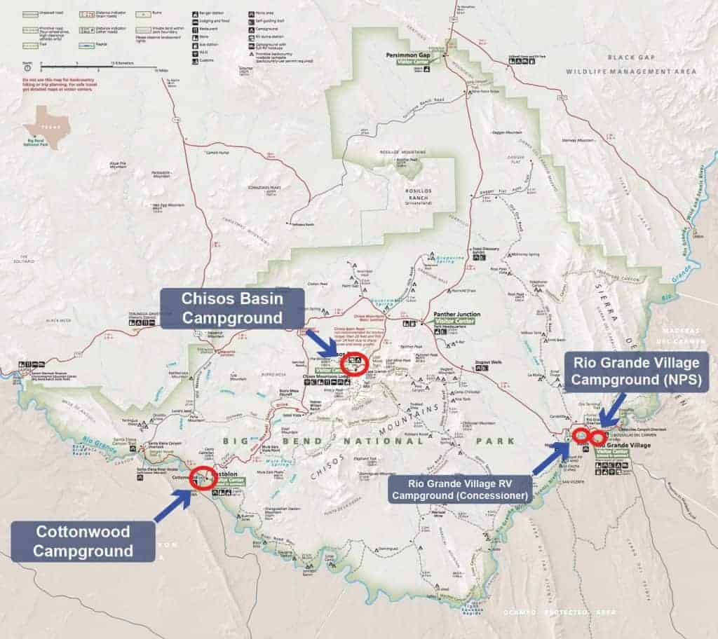 Map of campgrounds in Big Bend National Park