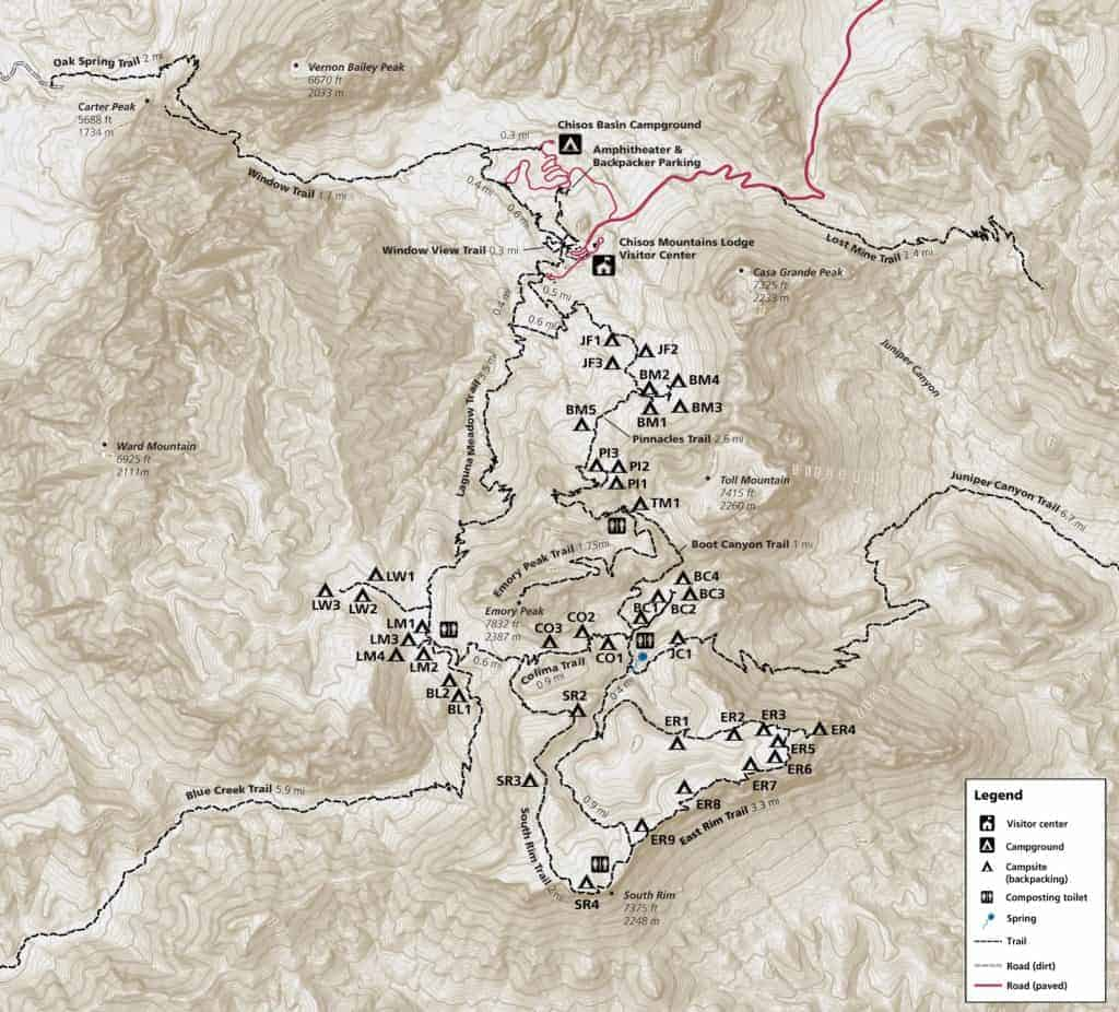 Map of trails and campsites in the Chisos Mountains.