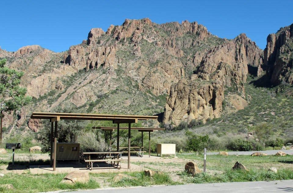 Picnic table at the Chisos Basin Campground.