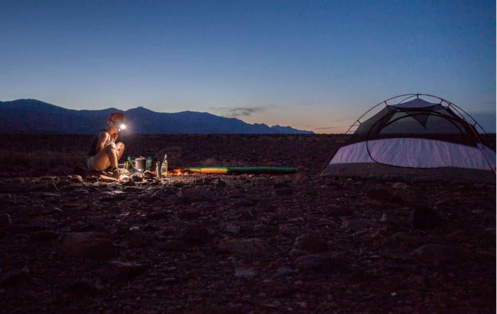 Tent in the desert near Great Basin National Park