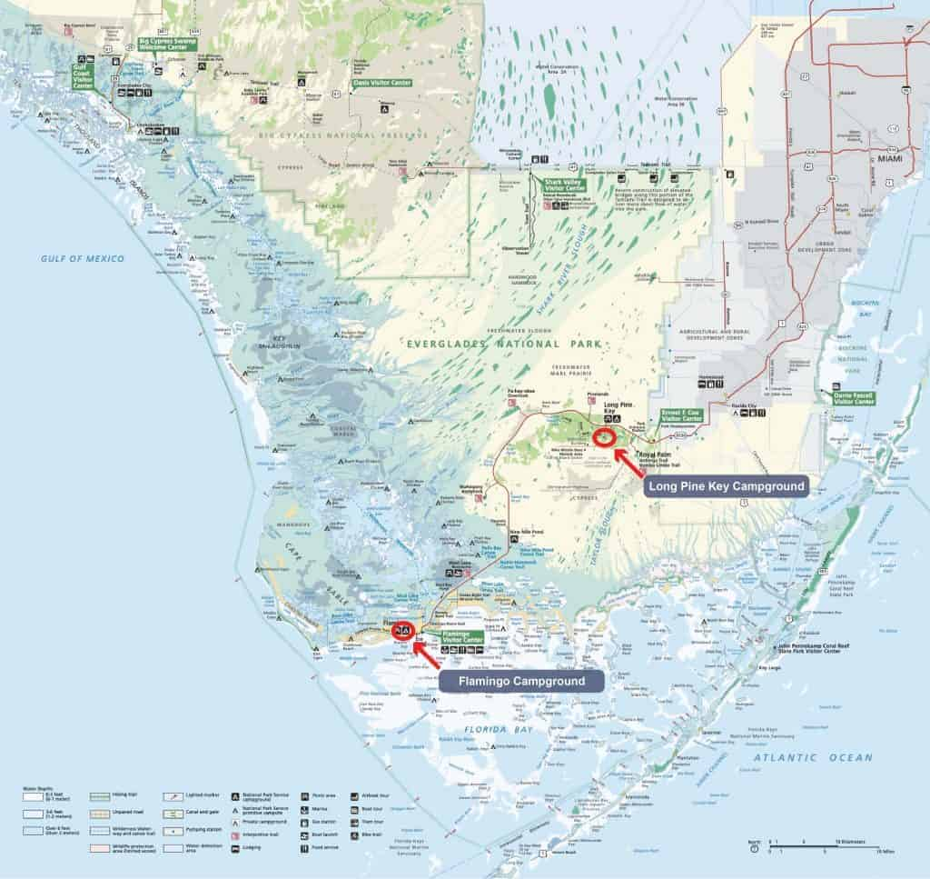 Map of campgrounds in Everglades National Park.