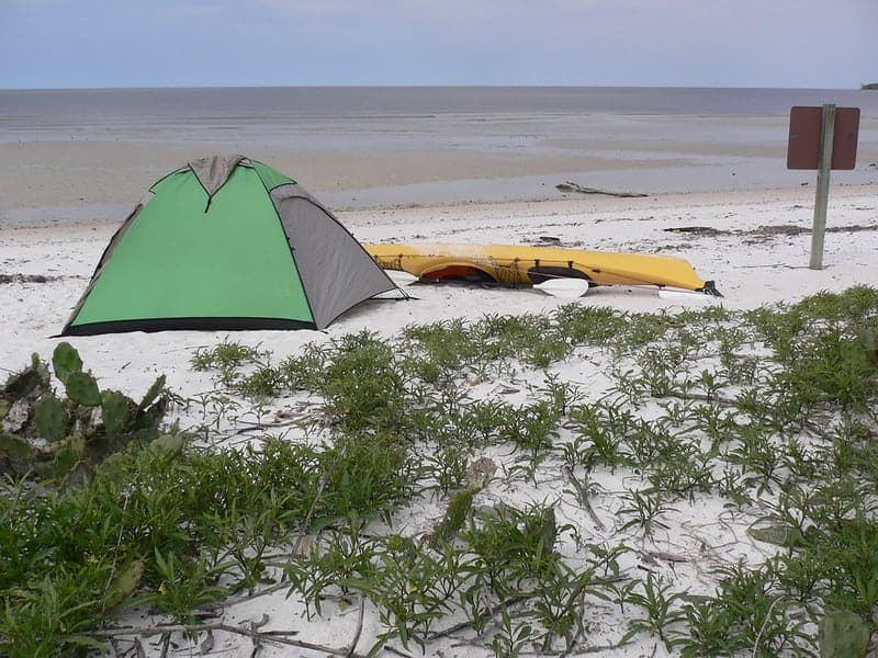 Tent and Kayak on the beach in Everglades National Park