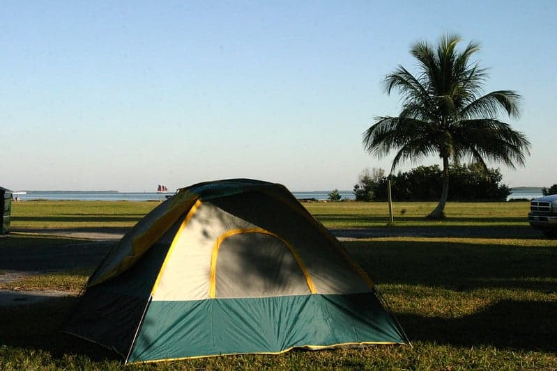 Tent in the Flamingo Campground in Everglades National Park