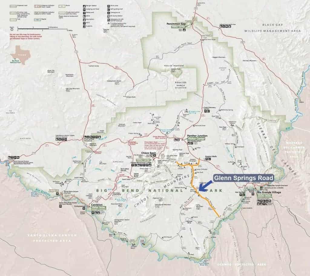 Map of campsites along Glenn Springs Road