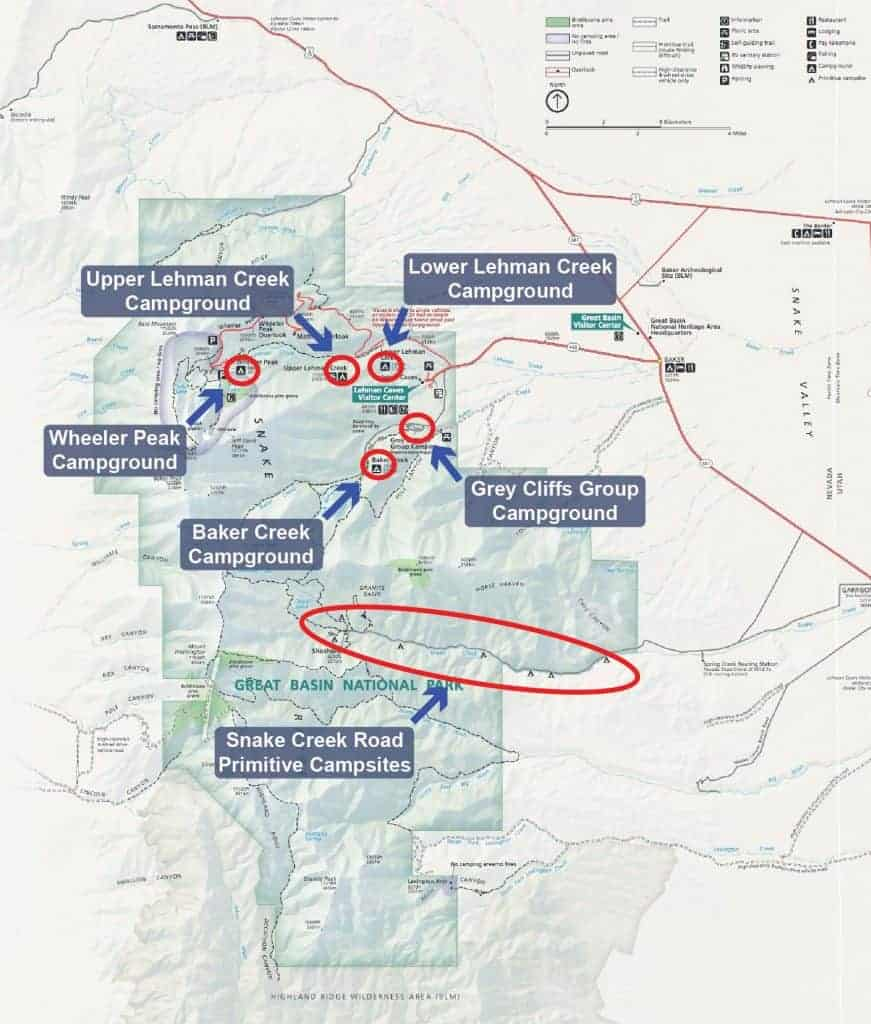 Map of campgrounds in Great Basin National Park.