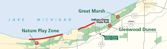 Map of pet areas in Indiana Dunes National Park