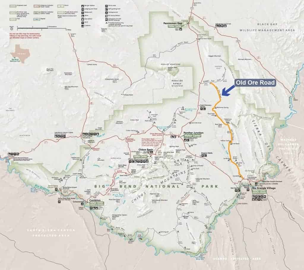 Map of primitive campsites along Old Ore Road