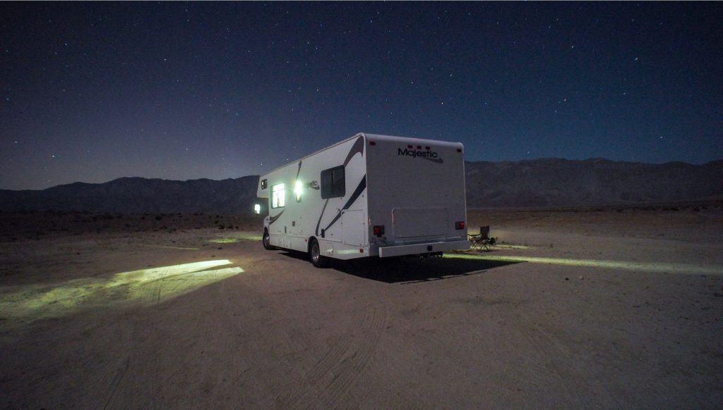 RV parked in the desert