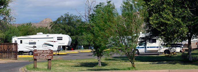 RVs parked at the Rio Grande Village RV Campground