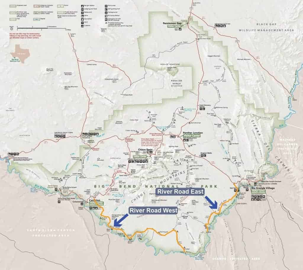 Map of campsites along River Road in Big Bend National Park