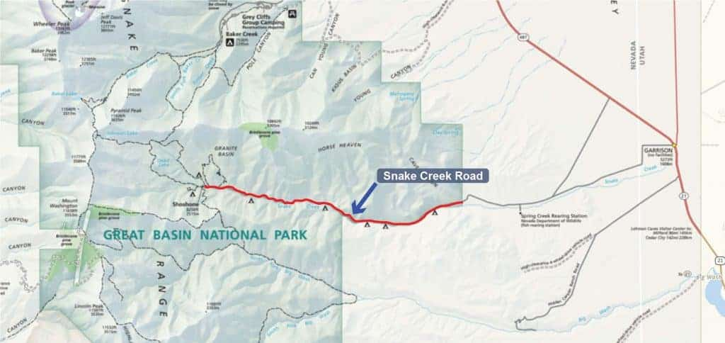Map of campgrounds along Snake Creek Road in Great Basin National Park