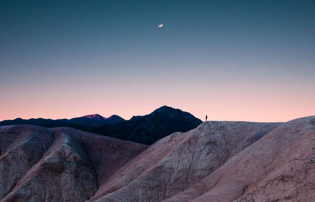A hiker in Death Valley