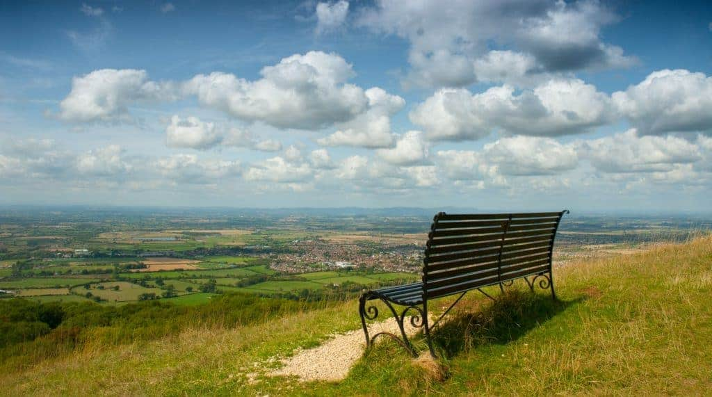 A bench at the top of Cleeve Hill