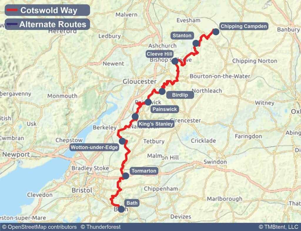 Cotswold Way Map