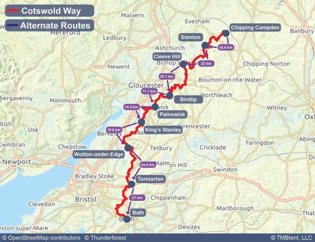 Map showing stage distances on the Cotswold Way in kilometers.