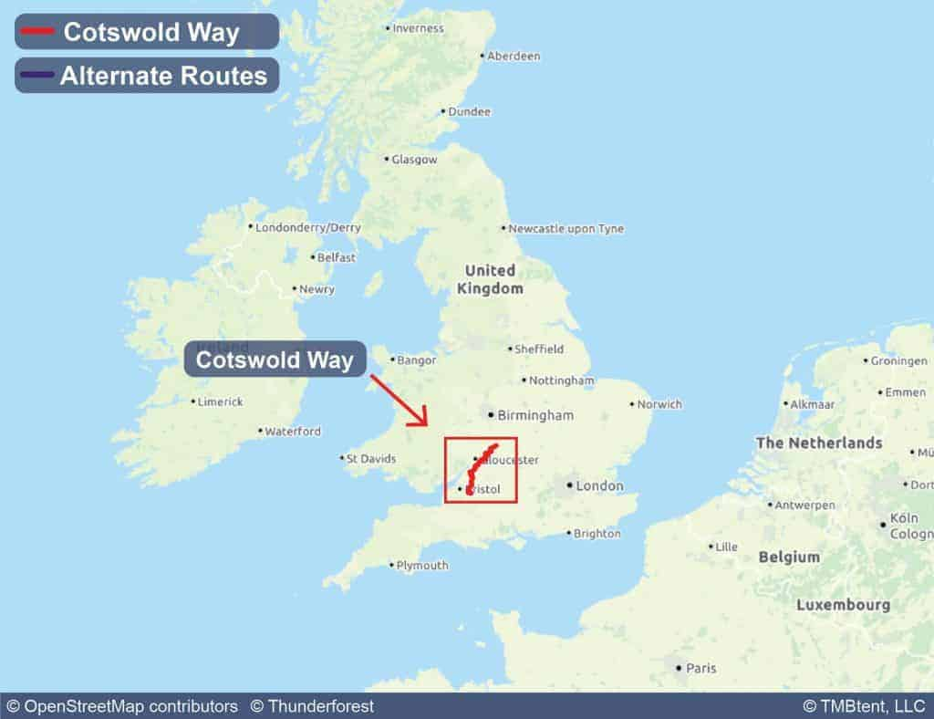 Overview map of the Cotswold Way