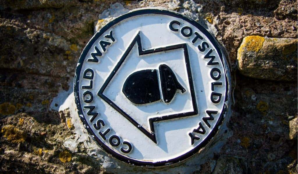 A trail marker on the Cotswold Way