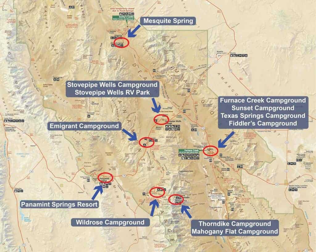 Map of campgrounds in Death Valley National Park