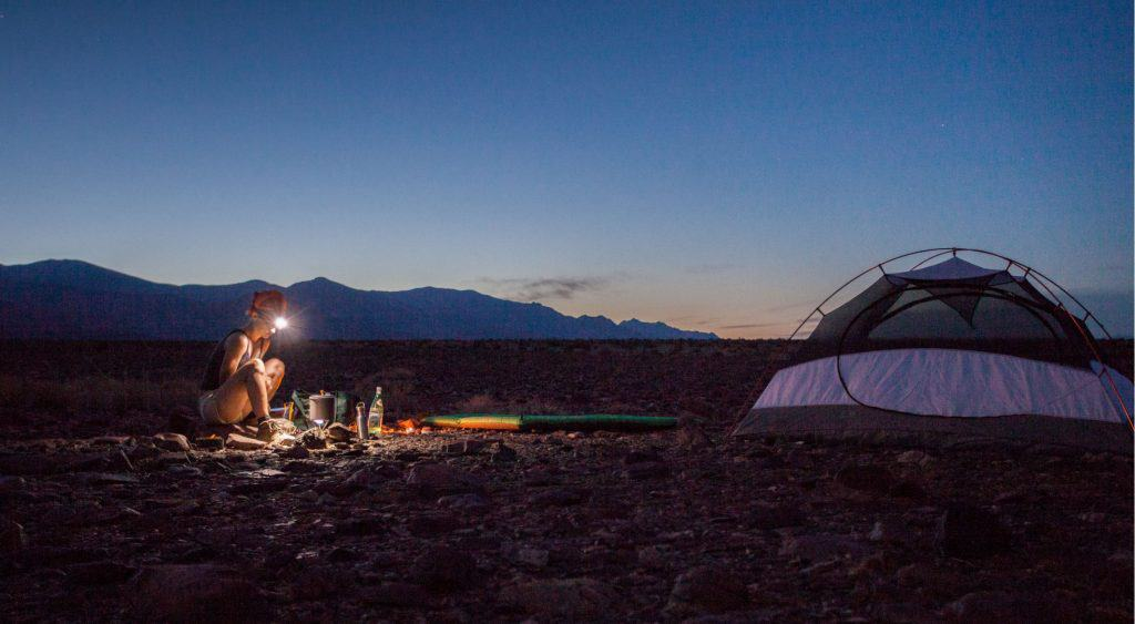 A backcountry camper in Death Valley National Park.