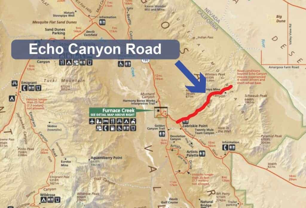 Map of Echo Canyon Road in Death Valley