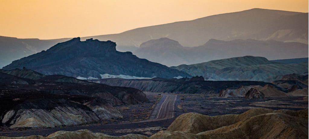 Highway 190 winds through Death Valley