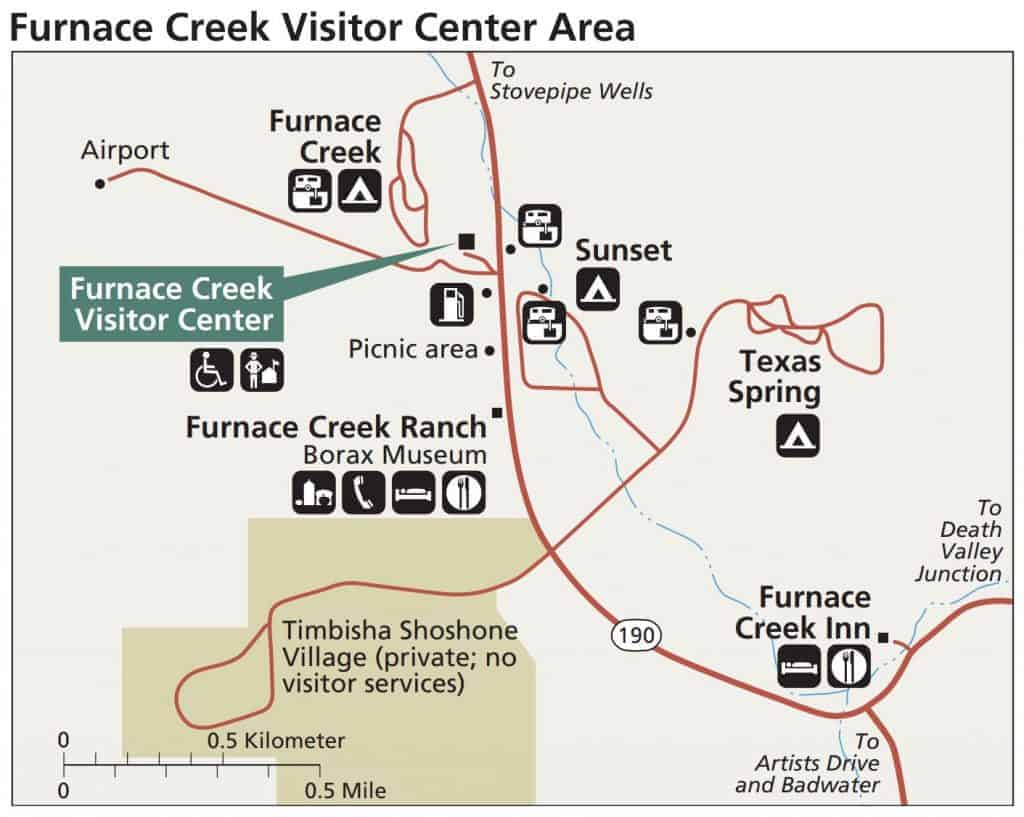 Map of the Furnace Creek area in Death Valley National Park
