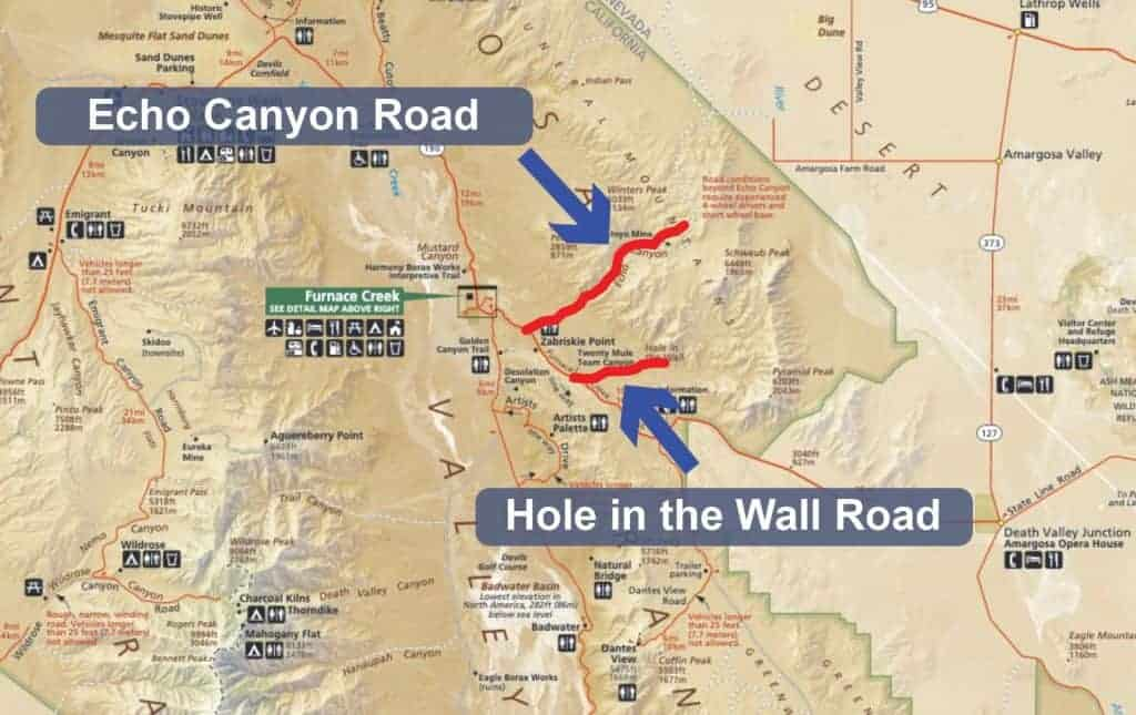 Map of Hole in the Wall Road in Death Valley