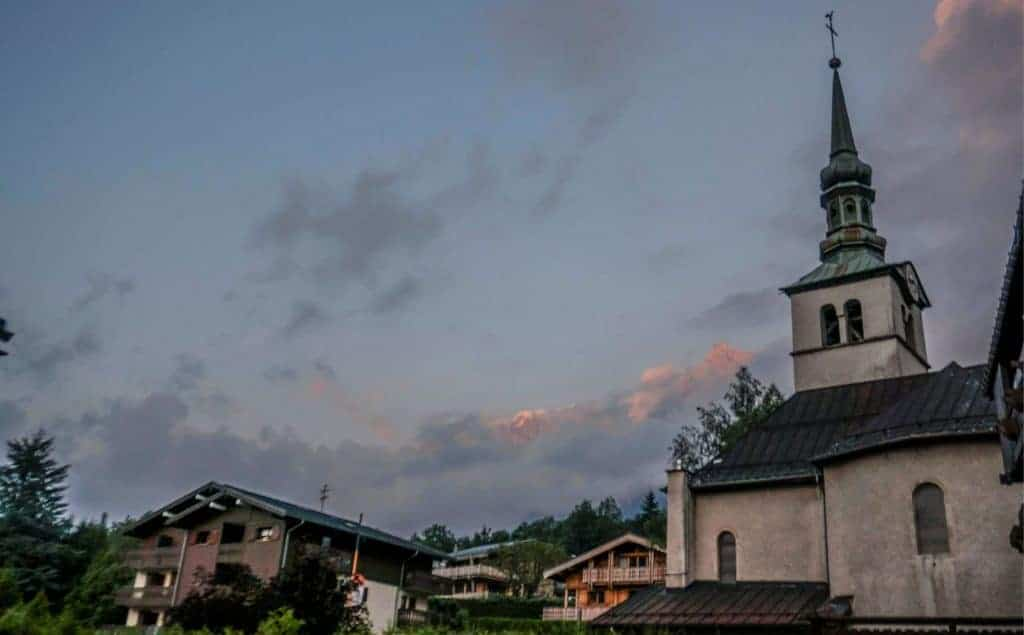 A church steeple in Les Houches