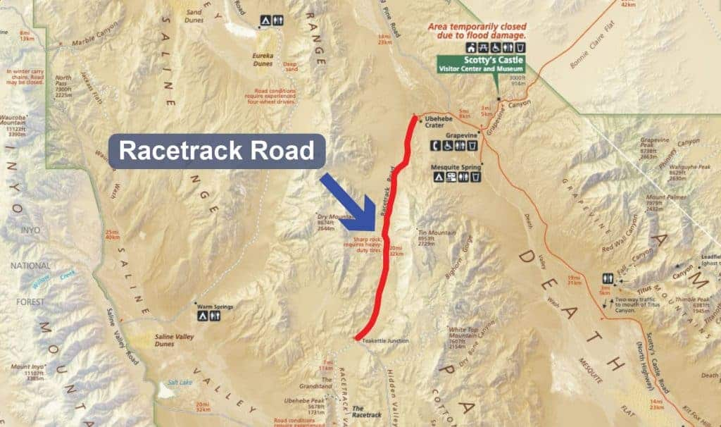 Map of Racetrack Road in Death Valley