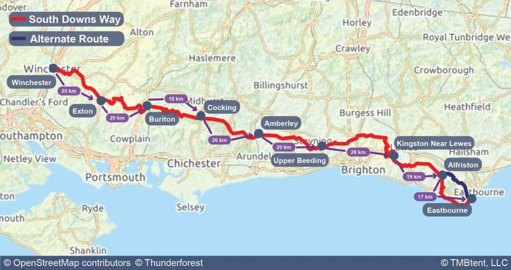 South Downs Way map with stage distances in kilometers