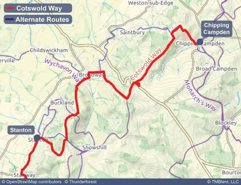 Map of stage 1 of the Cotswold Way - Chipping Campden to Stanton