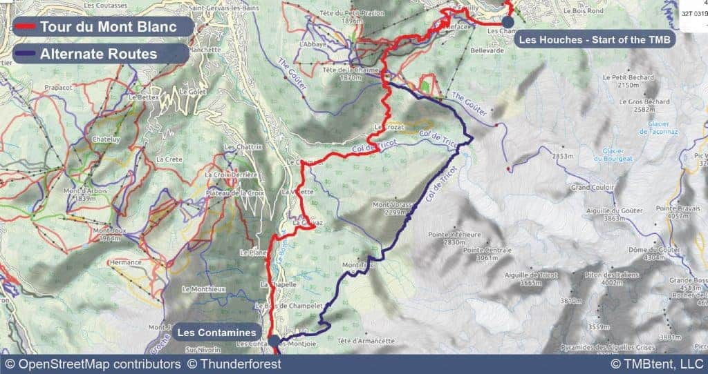 Map of Stage 1 of the Tour du Mont Blanc