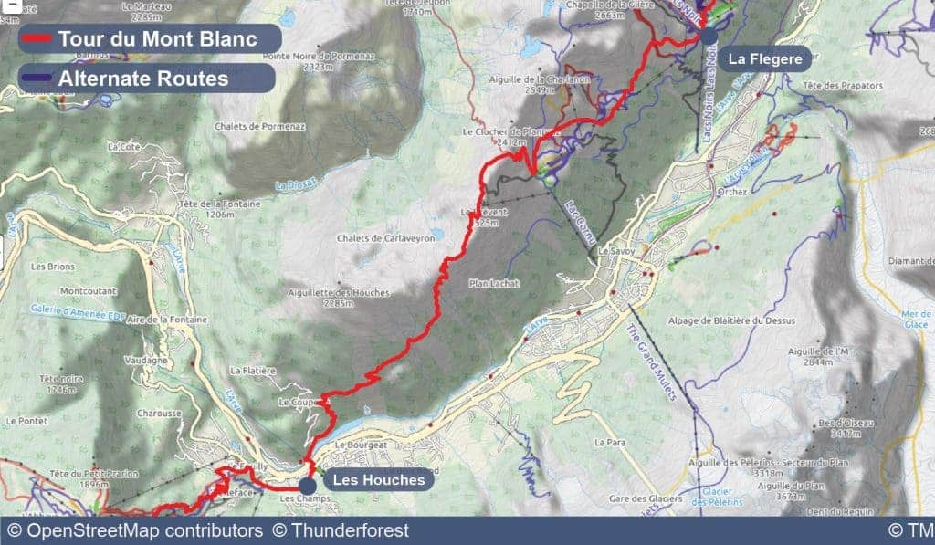 Map of Stage 11 of the Tour du Mont Blanc