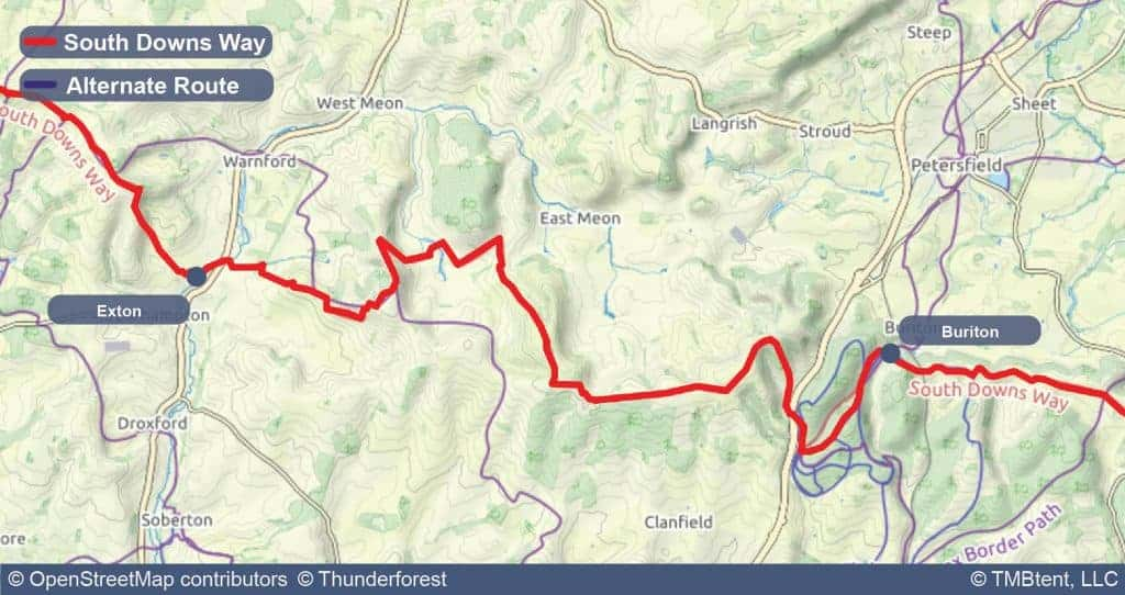 Map of Stage 2 of the South Downs Way - Exton to Buriton