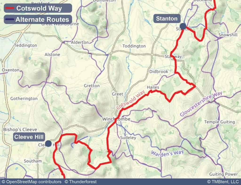 Map of stage 2 of the Cotswold Way - Stanton to Cleeve Hill