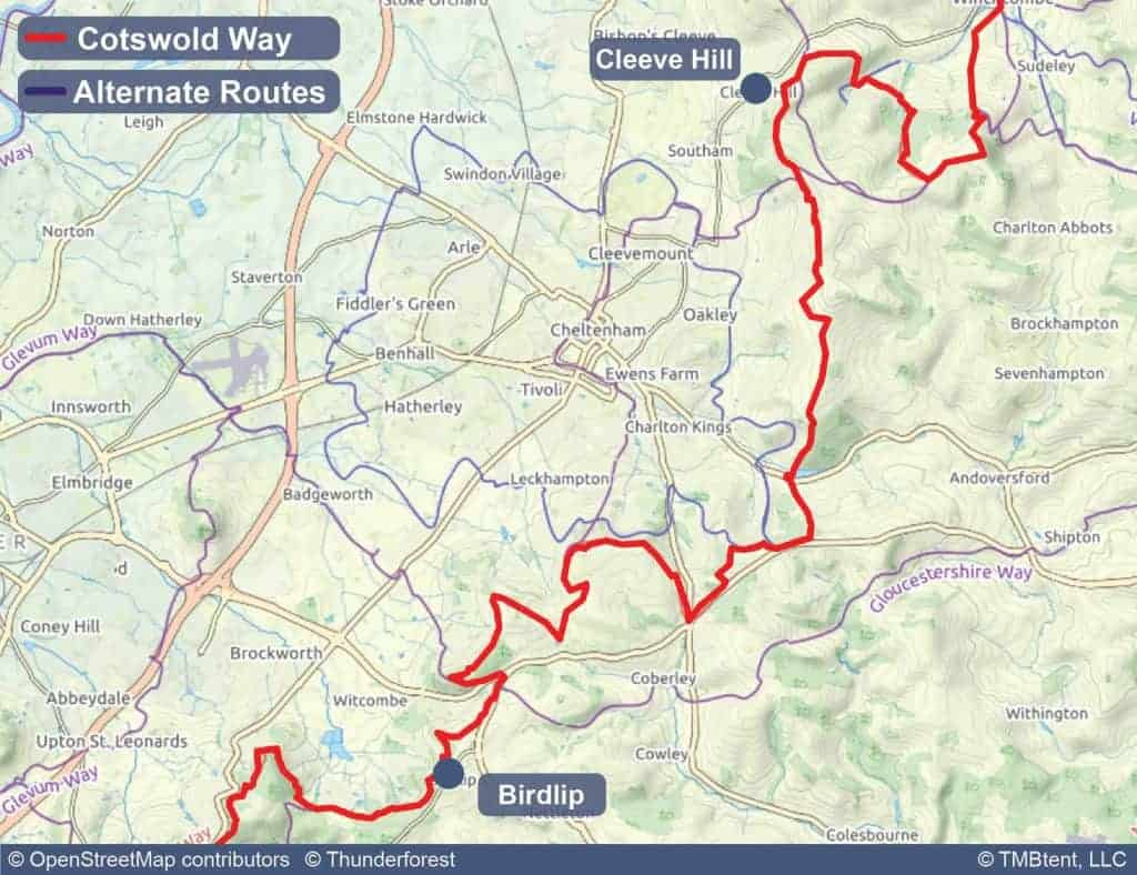 Map of stage 3 of the Cotswold Way - Cleeve Hill to Birdlip