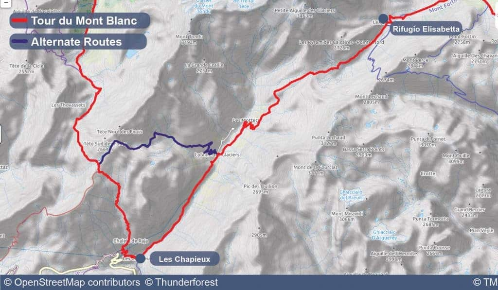 Map of Stage 3 of the Tour du Mont Blanc