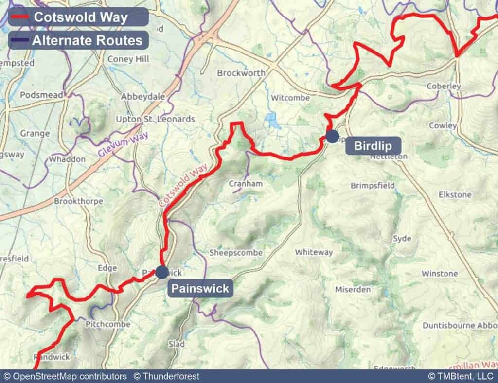 Map of stage 4 of the Cotswold Way - Birdlip to Painswick