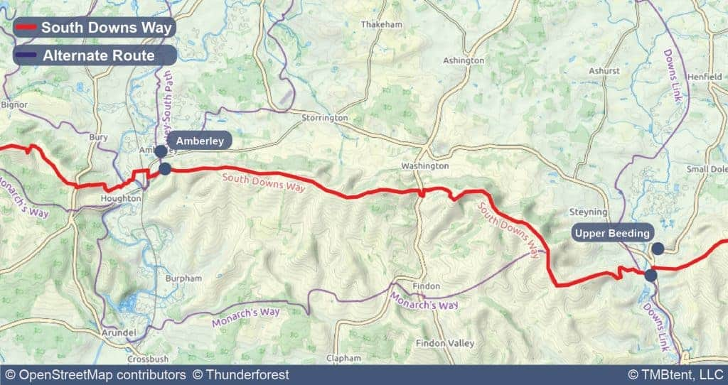 Map of Stage 5 of the South Downs Way from Amberley to Upper Beeding